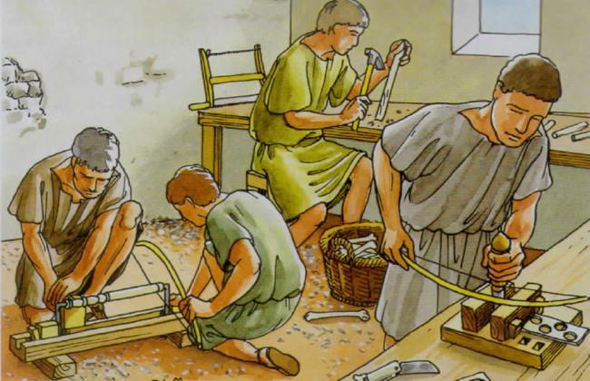 Hat so vielleicht eine römische Knochenwerkstatt ausgesehen? Unsere Experimente haben allerdings gezeigt, daß gerade Frauen für diese Tätigkeit bestens geeignet sind.
